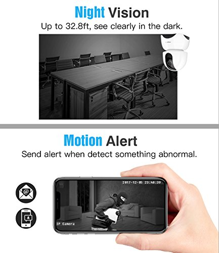 MoKo 1080P Wireless IP Camera, WiFi Home Security Surveillance Camera for Baby/Elder/Pet/Nanny Monitor, Pan/Tilt/Zoom, Motion Detection, Two-Way Audio, Night Vision, Remote Monitor with App - White