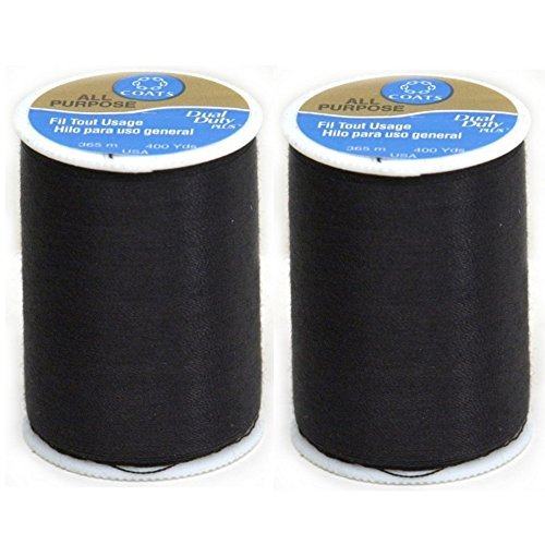 Coats & Clark Dual Duty All-Purpose Thread 400 Yds: Black (ONE spool of yarn) (2)