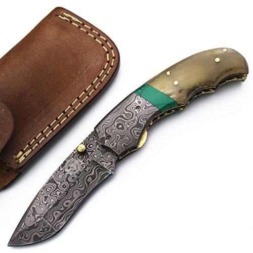 WolfKlinge DCF17-9 Handmade Damascus Steel Folding Pocket Knife, Sheep Horn, with Cowhide Leather Sheath ()