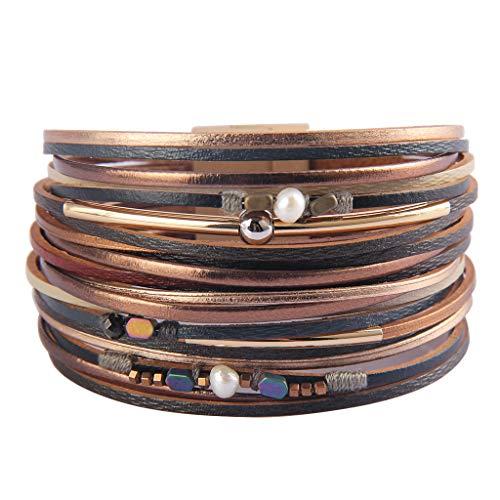 TASBERN Womens Leather Cuff Bracelets Multi Strands Layered Cuffs Boho Gold-Plated Crescent Seeds Metallic Bangle Bracelets Gift for Women Teen Girls Sister Mum Brown