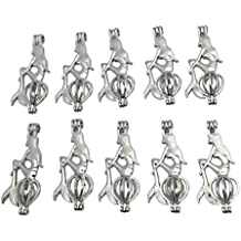 10pcs Charms Silver Plated Mermaid Locket Beads Pearl Cage Pendant For Necklace Bracelet Jewelry Making