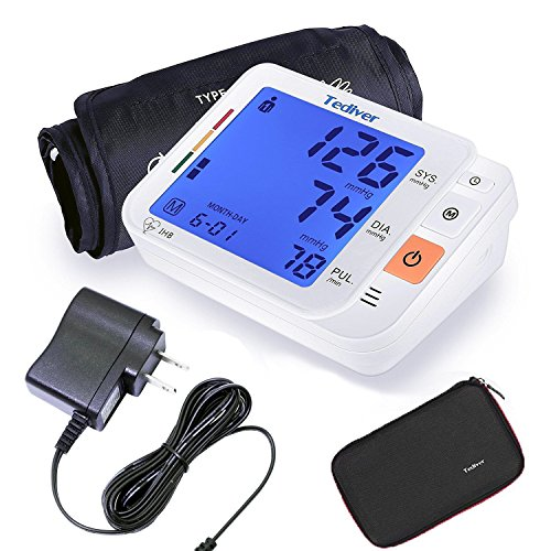 - Tediver Digital Blood Pressure Monitor, Large Cuff 0.7-1.3 Feet - Automatic Upper Arm Blood Pressure Cuff Sets with Adapter and Device Case, Backlight LCD screen, 2 Year Warranty
