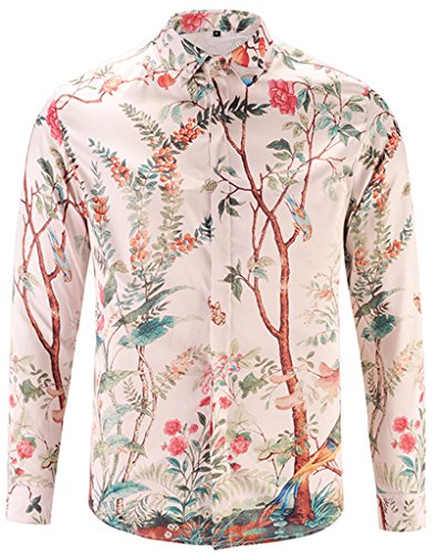 Pizoff Mens Long Sleeve Luxury Pink Spring Tree Flower Print Dress Shirt - Flowers Trees Pink