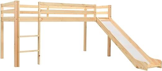 honglianghongshang Mobiliario para bebés y niños pequeños Cunas y Camas para niñosCama Alta para niños tobogán y Escalera Madera Pino 97x208 cm: Amazon.es: Hogar