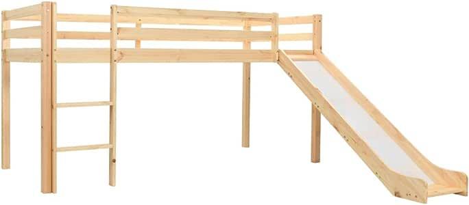 Tidyard- Deslizador para niños Cama Alta Maciza y Escalera de Pino de Madera Maciza de Pino 208 x 147.5 x 110 cm: Amazon.es: Hogar