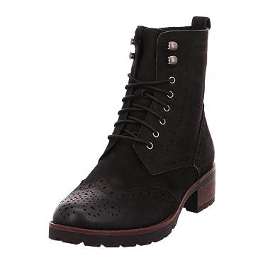 CAPRICE Damen 26210 Schwarze Nubuk Leder Boots: