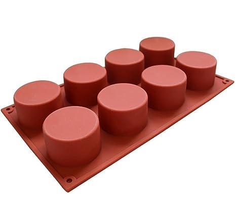 Jungen 8 Cavidad de cilindro redondo DIY Hornear Cupcakes – Molde de silicona (8 tazas