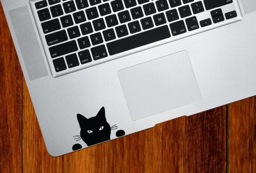Yadda-Yadda Design Co. Cat Watching - Soon. Cat - Trackpad/Keyboard - Vinyl Decal (BLACK) ()