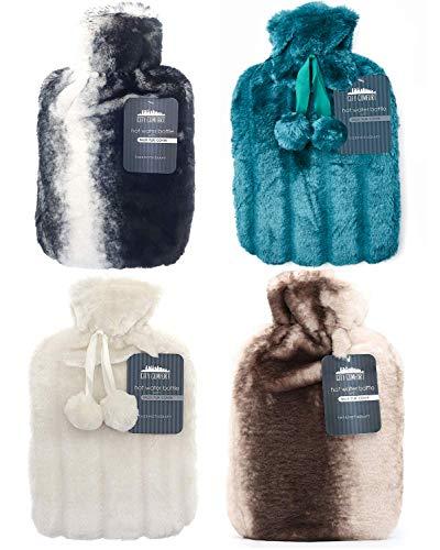 Wärmflasche mit Bezug Wärmflaschenbezug Flauschig Fashy Bettflasche mit Pom Pom