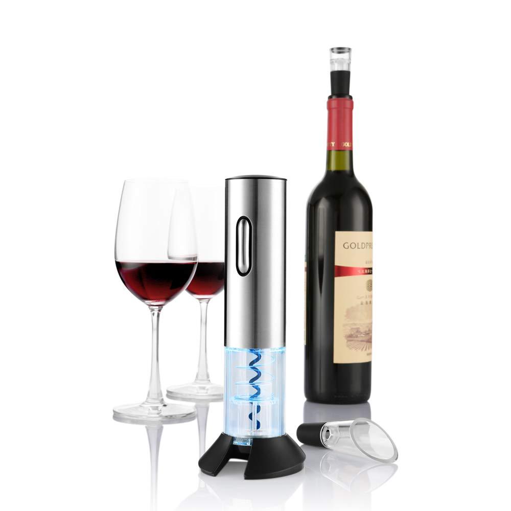 Zanmini, Apribottiglie Elettrico, acciaio INOX, Senza cordone, Accessori per vino, con aeratore per vino, versatore e Tagliacapsule, colore argento  Accessori per vino GearbestIT