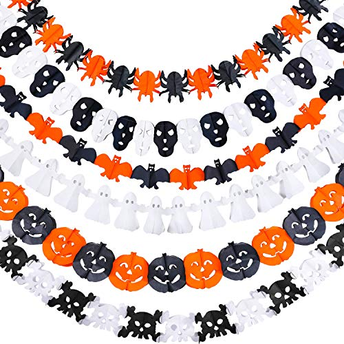 Jetec 6 Pieces Halloween Decoration Paper Garland Pumpkin Spider Ghost Cockroach Bat and Grimace Shape Easter Decoration Prop, 3.3 Yards Each Piece ()