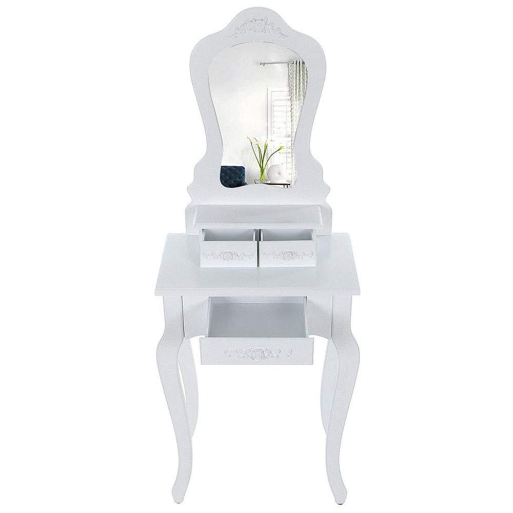 PUCLST Vanity Bänke Vanity Set mit Spiegel gepolstertem Hocker Geschenk Makeup Organizer Dressing Table (Farbe : Weiß, Größe : 50 * 30 * 136cm)
