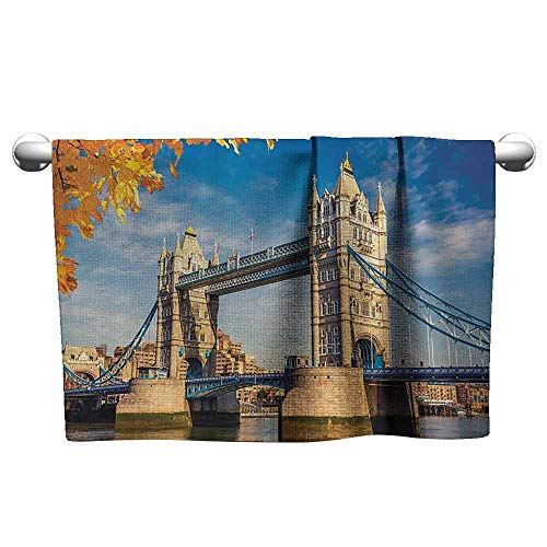 (duommhome London Decor Collection Beach Activity Bath Towel Historied Construction Tower Bridge with Mossy Abutments Seen Behind Autumn Leaves Picture W19 x L39 Yellow Ivory Blue)