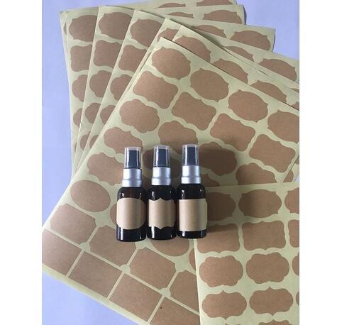 assortiti dimensioni Fantasia Forma Carta Kraft Chalkboard Etichette autoadesive per bottiglie di olio essenziale Mason Barattoli o contenitore di archiviazione di cibo 6/Fogli 192/PCS