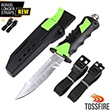 """Stainless Steel Scuba Diving Knife with Leg Strap Sheath, Ergonomic Tactical Dive Knife 9 x 1.6"""" for Snorkeling Survival Spearfishing with Double Edge Sharp Blade and Lock Release Button"""