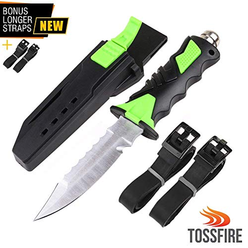"Stainless Steel Scuba Diving Knife with Leg Strap Sheath, Ergonomic Tactical Dive Knife 9 x 1.6"" for Snorkeling Survival Spearfishing with Double Edge Sharp Blade and Lock Release Button"