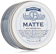 John Allan's matte but never dull pomade is a lightweight, water-based pomade that gives hair detail without the shine. It can be used on all hair types to provide texture, separation, and a light, flexible hold. Matte pomade nourishes and co...