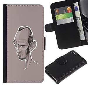 A-type (Caricature Writer Actor Hollywood) Colorida Impresión Funda Cuero Monedero Caja Bolsa Cubierta Caja Piel Card Slots Para Apple Iphone 4 / 4S