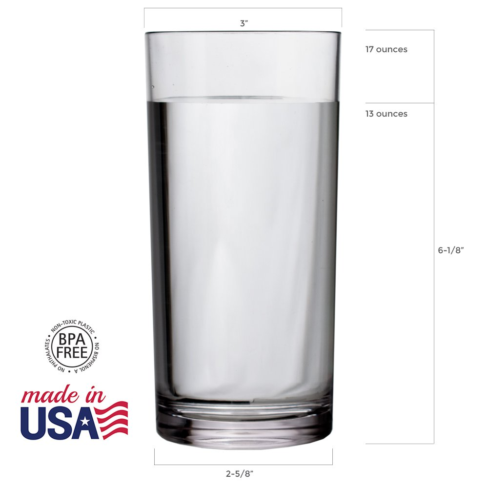 Classic 16-ounce Premium Quality Plastic Water Tumbler | Clear Set of 6 by US Acrylic (Image #3)