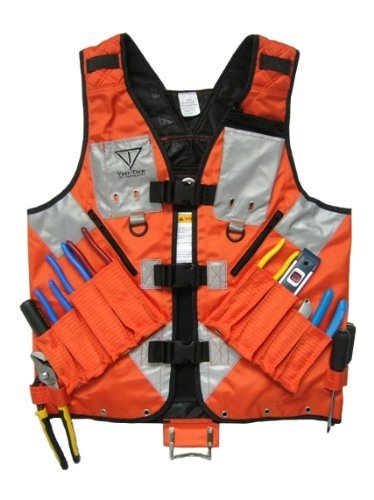 XL High Visibility Tool Vest with Built in Hydration Pouch - Electricians, Surveyors, Contruction (Orange)