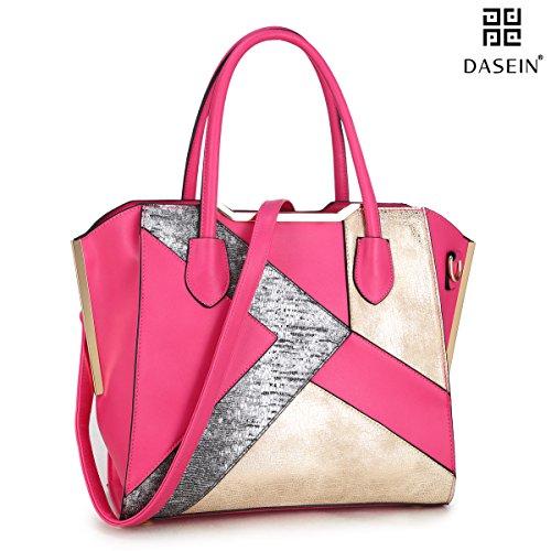 Dasein Women's Designer Patchwork Textured PU Leather Domed Satchel Handbag Shoulder Bag Purse W/ Strap (6282 Fuchsia)