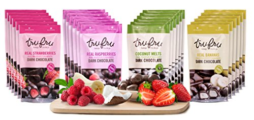 - Tru Fru SAMPLER Grab & Go Pack | 100% Freeze-Dried Fresh Fruit Covered in Premium Dark Chocolate. 24ct-Pack Case, 2oz, 48 Servings (6-RASPBERRY, 6-COCONUT, 6-STRAWBERRY, 6-BANANA) (Sampler)