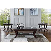 3 Piece Classic Traditional Living Room Coffee Table and Side Tables Set (Red)