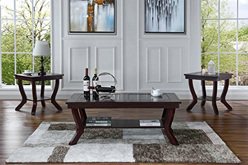 3 Piece Classic Traditional Living Room Coffee Table and Side Tables Set (Red) 3 Piece Living Room Coffee Table