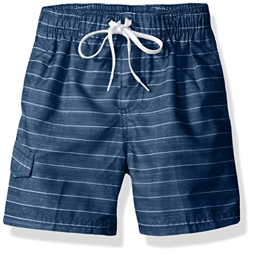 Kanu Surf Little Boys' Line up Stripe Quick Dry Beach Board Shorts Swim Trunk, Navy, Medium (5/6)