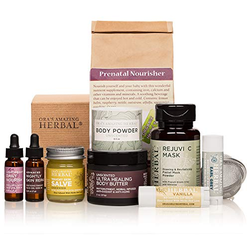 (Pregnancy, Naturally Beautiful Maternity Gift Set, Apothecary Skin Care for Mom To Be, Holistic Expectant Mother's Gift With Prenatal Organic Herbal Tea, Ora's Amazing Herbal)