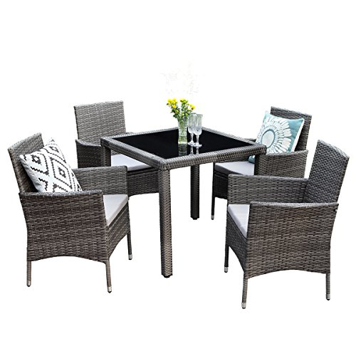 Wisteria Lane 5PCS Patio Dining Table Set, Outdoor Conversation Set Glass Table with Cushioned Wicker Chairs Garden Lawn Bar Furniture,Grey ()