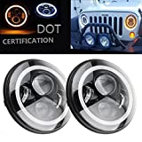 2 Pack-SXMA 7 Inch Round CREE LED Projector Headlights with White Halo Angel Eye Ring DRL & Amber Turn Signal Lights for 97-2017 Jeep Wrangler JK TJ LJ (2 Yr Warranty)