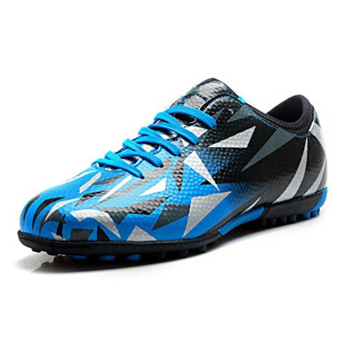 Tiebao Unisex Kids Adults Lace Up Rubber Cleats Football Shoes Boots for Hard Artificial Ground Indoor Blue S76516 Adults US10