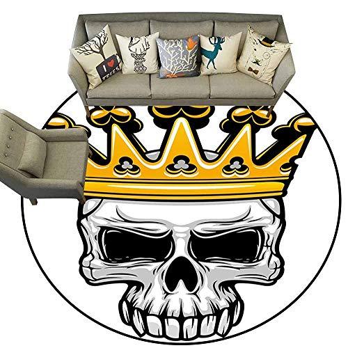 Doormat Kitchen Bathroom King Queen Size Hand Drawn Crowned Skull Cranium with Coronet Tiara Halloween Themed Image Golden and Light Grey Shoe Scraper Door Mat Living Room Rug 5