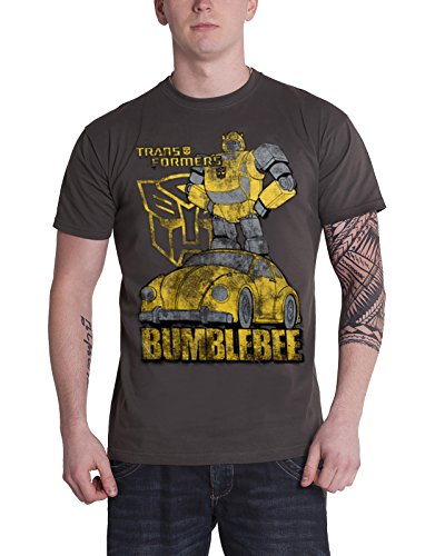 Bumble Bee Merchandise (Transformers T Shirt Bumblebee Distressed new Official Mens Grey)