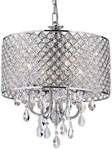 Edvivi Marya 4-Light Chrome Round Crystal Chandelier Ceiling Fixture | Beaded Drum Shade | Glam Lighting