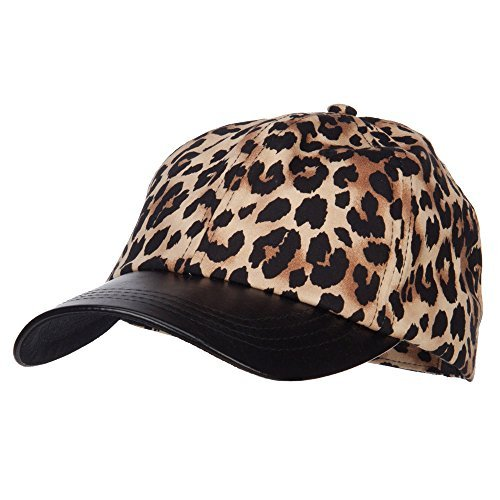- Leopard Print Cap with Leather Bill - Brown OSFM