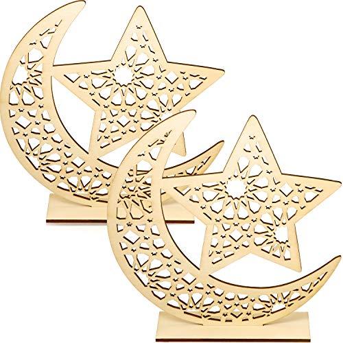 WILLBOND 2 Juegos Adorno de Madera de Eid Mubarak Decoración de Mesa de Madera de Ramadán Colgante de Luna Estrella para…