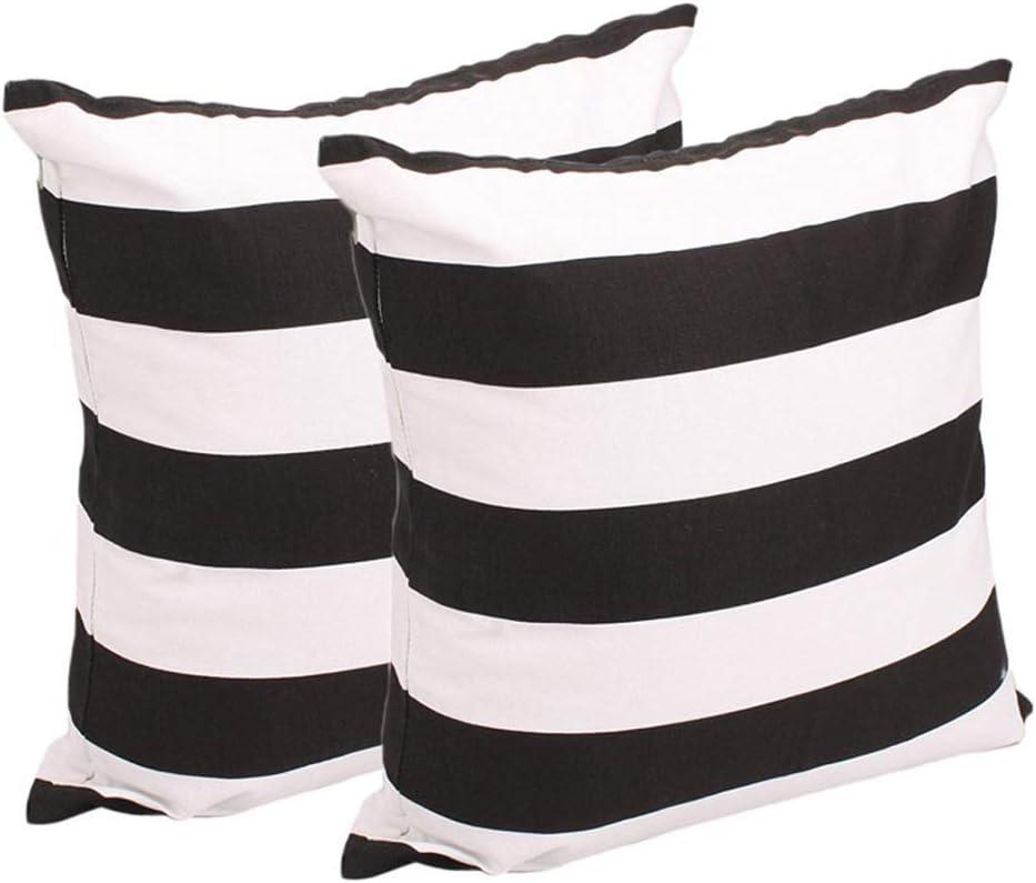 Songrong 2ST Dekokissen Abdeckung weicher Baumwolle Leinwand Schwarz wei/ße Streifen Muster Pillowcase Kissen Encasement 17 7 Inch X 17.7 Zoll K/üchenzubeh/ör