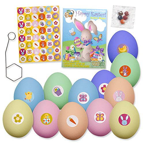 4 Pack Easter Egg Decorating Kit- 20 Non Toxic Dye Coloring Tablets 5 Colors and 192 Stickers Party Crafts by Gift Boutique Easter Eggs Tie