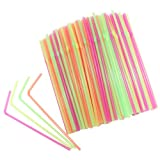 Chefland Disposable Drinking Straws 400 Count, Neon Colored, Flexible Straws for Kids, Party Straws