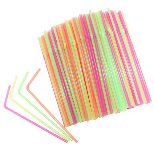 [Chefland Disposable Drinking Straws 400 Count, Neon Colored, Flexible Straws for Kids, Party Straws] (Drinking Hats With Straws)