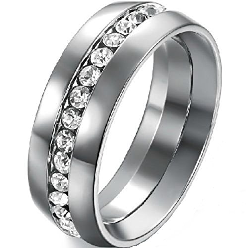 8MM Stainless Steel Wedding Band Engagement Eternity Ring
