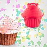 Set di 3 stampi per cupcake gigante in silicone, colore: ROSSO