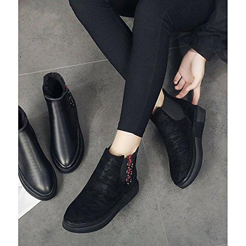 HSXZ Women's Shoes PU Winter Comfort Fur Lining Boots Flat Heel Round Toe for Casual Black Black HQU4DJ3