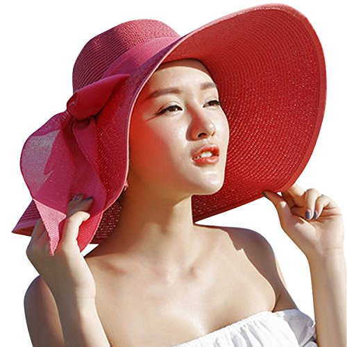 Lanzom Womens Big Bowknot Straw Hat Floppy Foldable Roll up Beach Cap Sun Hat UPF 50+ (Red)