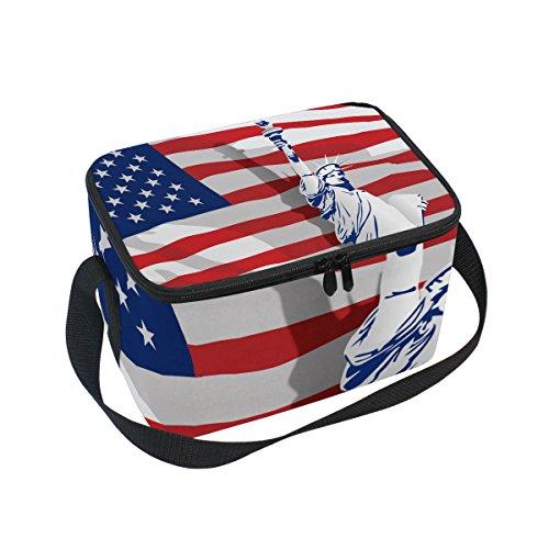 [해외]빈티지 고민 미국 상태 국기 절연 도시락 쿨러 가방 재사용 토트 야외 여행 피크닉 가방 / Vintage Distressed American State Flag Insulated Lunch Box Cooler Bag Reusable Tote Outdoor Travel Picnic Bags
