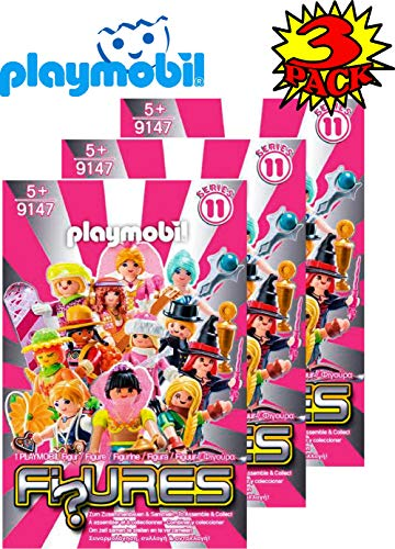 Matty's Toy Stop Playmobil Figures Mystery Blind Bags Series 11 Girls 9147 (Pink) Gift Set Party Bundle - 3 Pack - Favors Playmobil