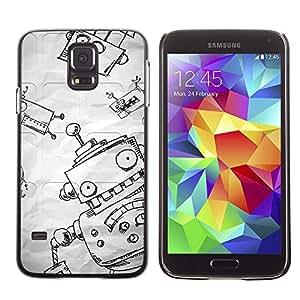 Paccase / SLIM PC / Aliminium Casa Carcasa Funda Case Cover para - Funny Paper Sketch Boy Kids - Samsung Galaxy S5 SM-G900
