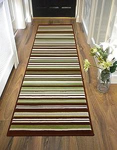 Large Contemporary Stripe Design Green Brown Runner Rug In 60 X 220 Cm (2u0027  X 7u00274u0027u0027) Carpet